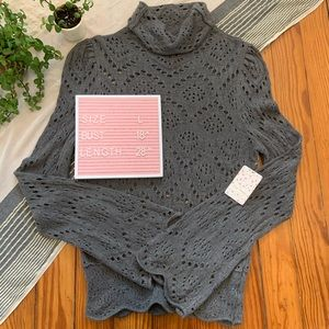 Free People Gray Turtleneck Bell Sleeve Sweater